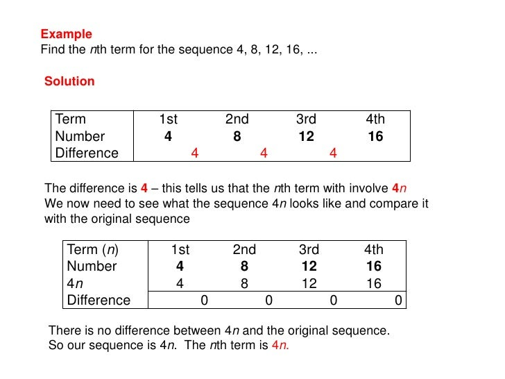 Number sequences for Table th nth