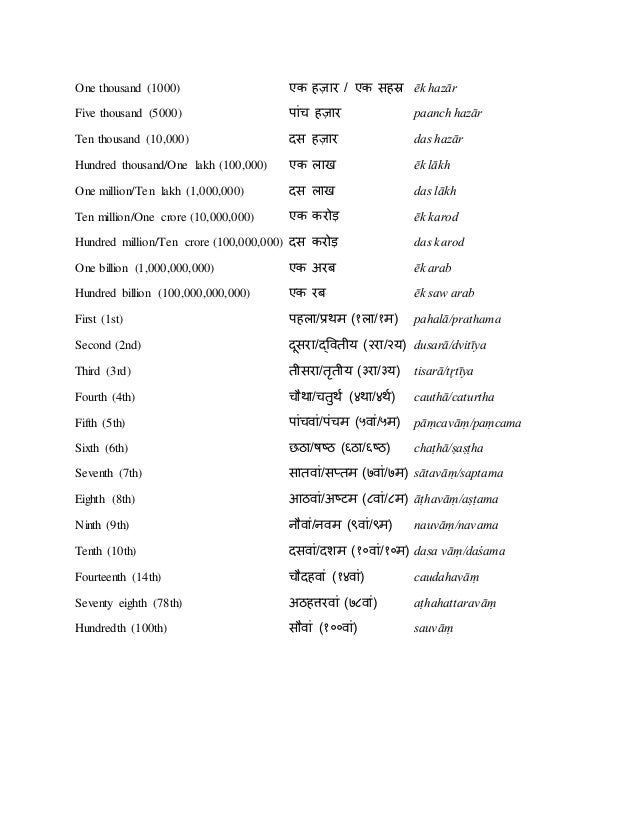 Numbers in hindi