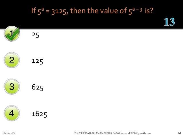If 5a = 3125, then the value of 5a – 3 is? 25 125 625 1625 12-Jun-15 C.S.VEERARAGAVAN 98948 34264 veeraa1729@gmail.com 64