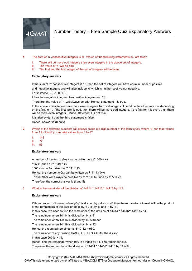 Number Theory – Free Sample Quiz Explanatory Answers     1.    The sum of 'n' consecutive integers is '0'. Which of the fo...