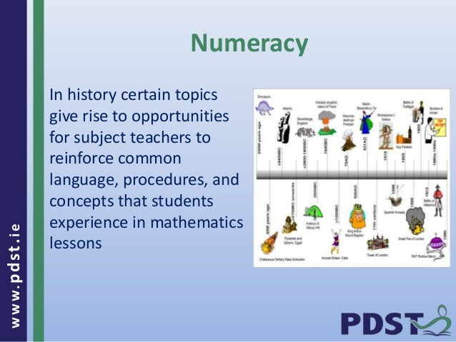 www.pdst . ie  Numeracy  In history certain topics  give rise to opportunities  for subject teachers to  reinforce common ...