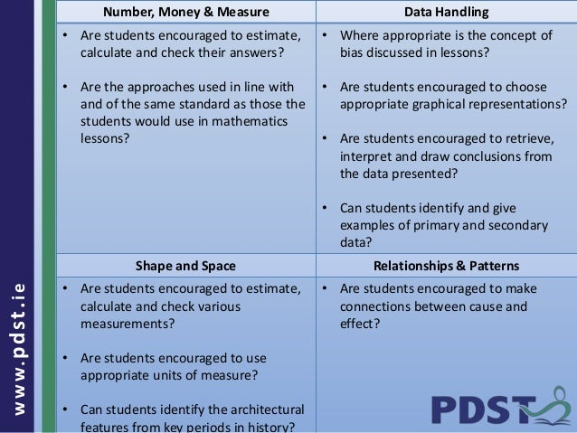 www.pdst . ie  Number, Money & Measure Data Handling  • Are students encouraged to estimate,  calculate and check their an...