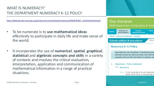 the application of numeracy in an