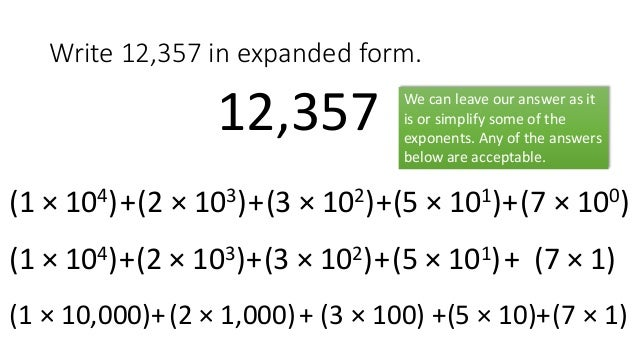 Writing Hindu Arabic Numerals In Expanded Form