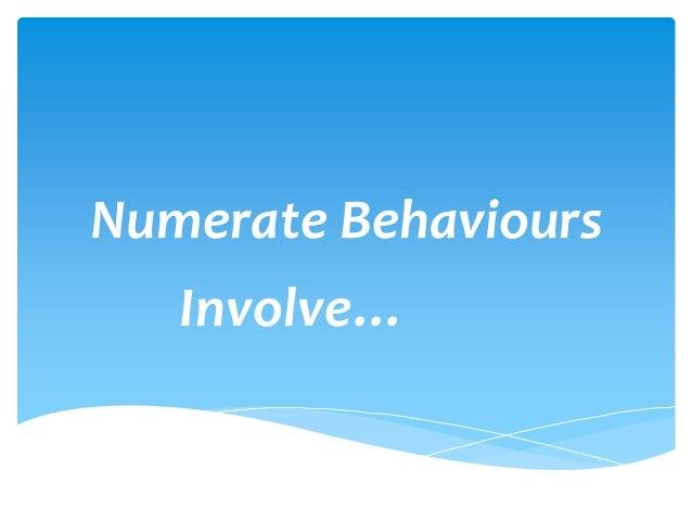 Numerate Behaviours Involve…