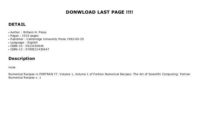 Numerical Recipes In Fortran 77 Volume 1 Volume 1 Of Fortran Numeri