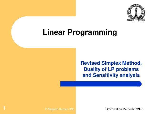Numerical analysis dual, primal, revised simplex