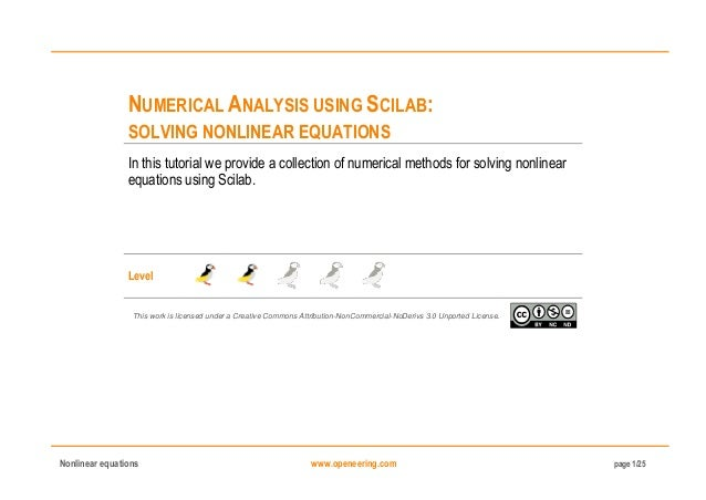 Numerical analysis using Scilab: Solving nonlinear equations