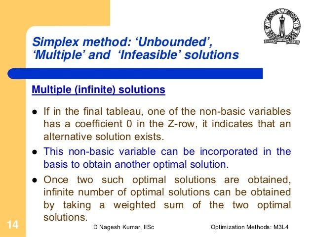 how to read infinite solutions from final simplex tableau