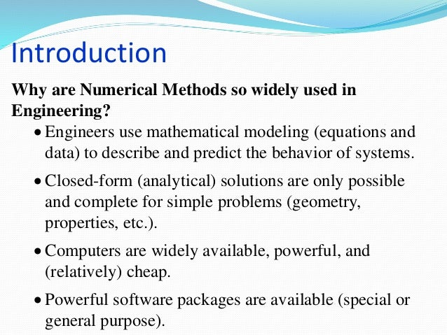 APPLICATION OF NUMERICAL METHODS IN SMALL SIZE