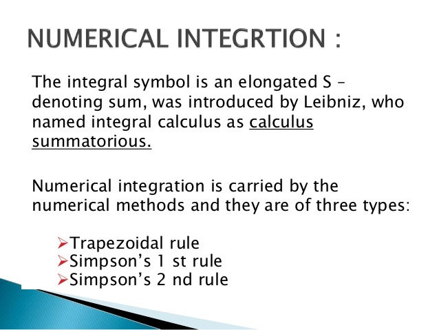 Numerical Integration And Its Applications