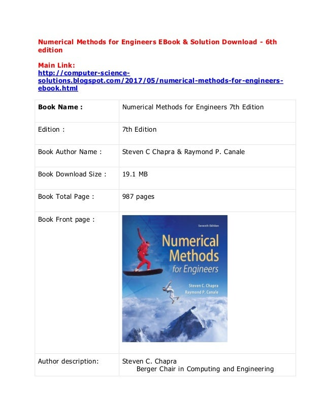 Numerical Methods For Engineers Sixth Edition Solution Manual