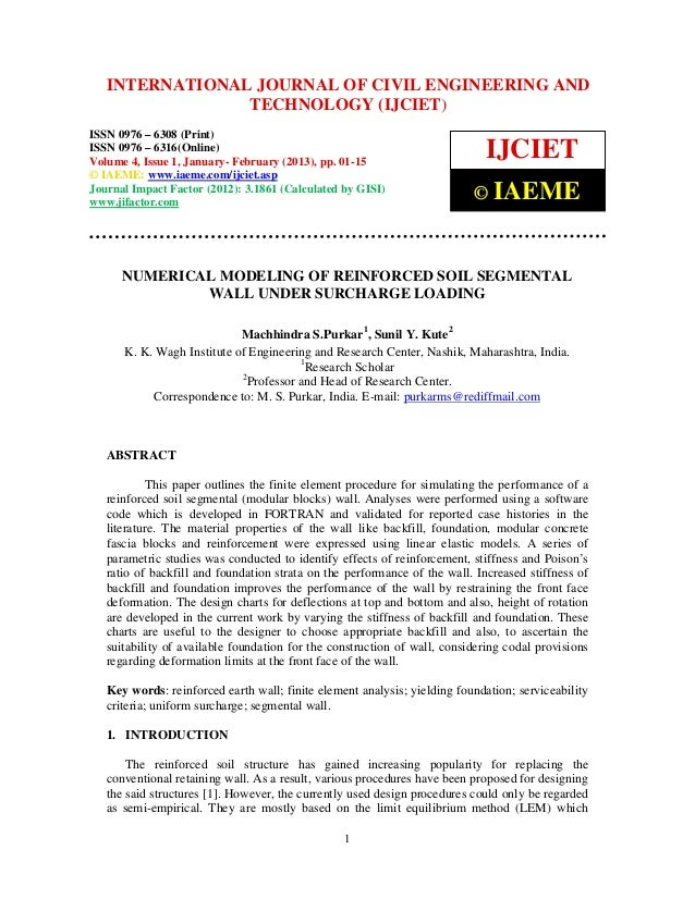 International Journal of Civil JOURNAL OF CIVIL ENGINEERING(Print),   INTERNATIONAL Engineering and Technology (IJCIET), I...
