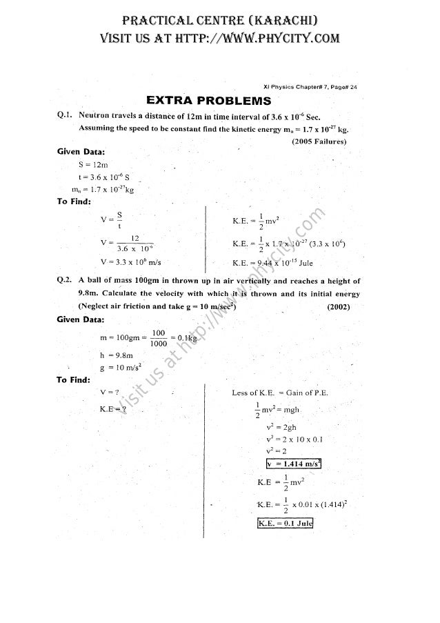 Karachi Board Physics XI Chapter 07 Numerical Solved