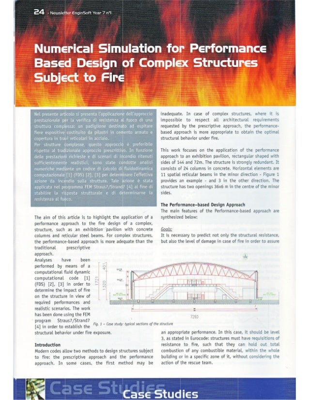 Numerical simulation for performance based design of complex structures subject to fire