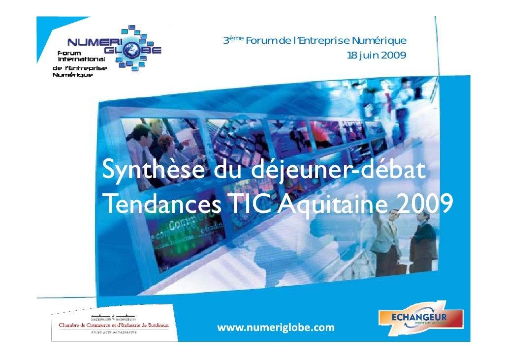 3ème Forum de l'Entreprise Numérique                                   18 juin 2009     Synthèse du déjeuner-débat  y     ...