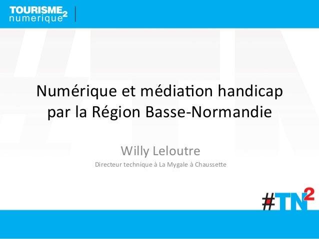 Numérique  et  média-on  handicap   par  la  Région  Basse-‐Normandie   Willy  Leloutre   Directeur ...