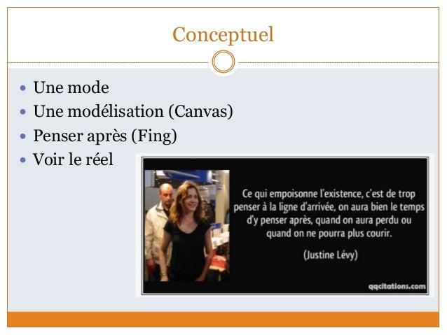 Conceptuel  Une mode  Une modélisation (Canvas)  Penser après (Fing)  Voir le réel
