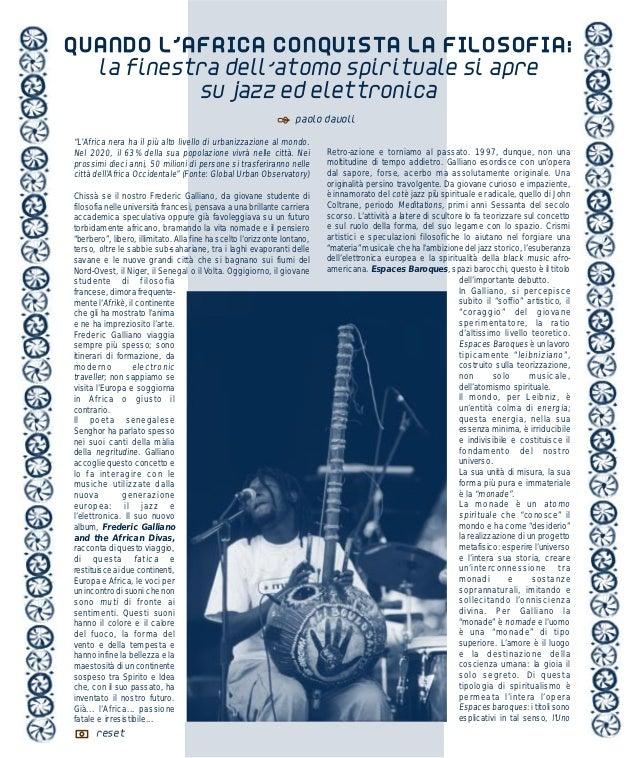 QUANDO L'AFRICA CONQUISTA LA FILOSOFIA:           la finestra dell'atomo spirituale si apre                    su jazz ed ...