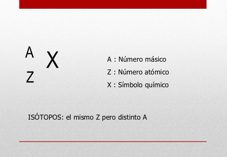 A : Número másico Z : Número atómico  X : Símbolo químico ISÓTOPOS: el mismo Z pero distinto A