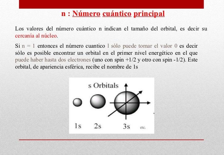 n :  N úmero   cuántico   principal Los valores del número cuántico n indican el tamaño del orbital, es decir su  cercanía...