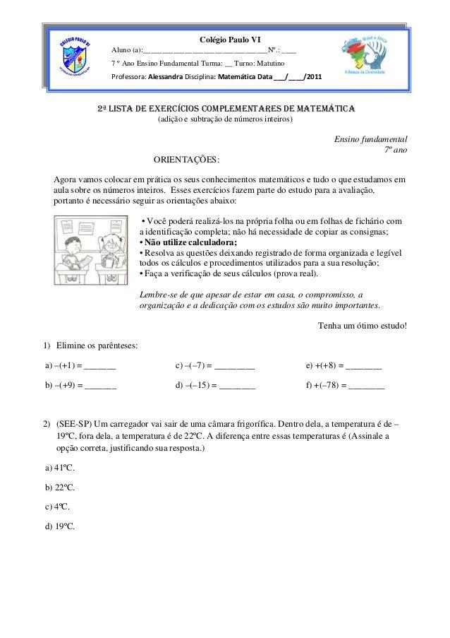 2ª LISTA DE EXERCÍCIOS COMPLEMENTARES DE MATEMÁTICA (adição e subtração de números inteiros) Ensino fundamental 7º ano ORI...