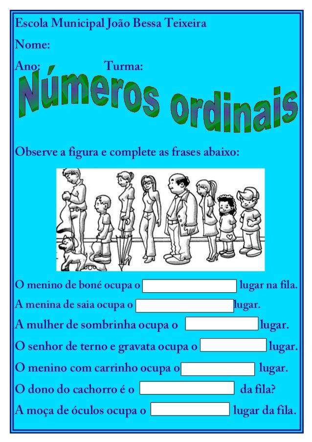 Escola Municipal João Bessa Teixeira Nome: Ano: Turma: Observe a figura e complete as frases abaixo: O menino de boné ocup...