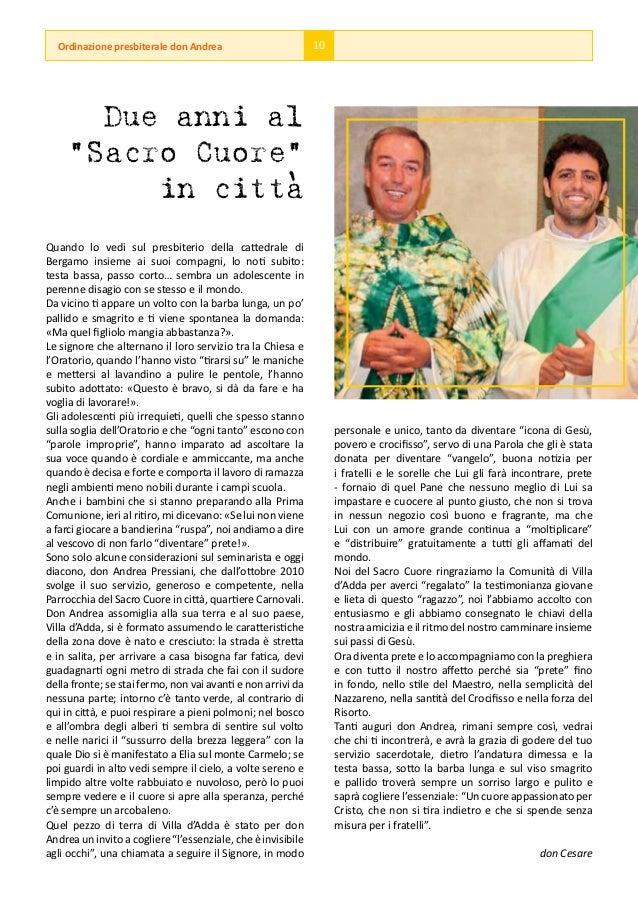 """Ordinazione presbiterale don Andrea                         10       Due anni al     """"Sacro Cuore""""                 '      ..."""