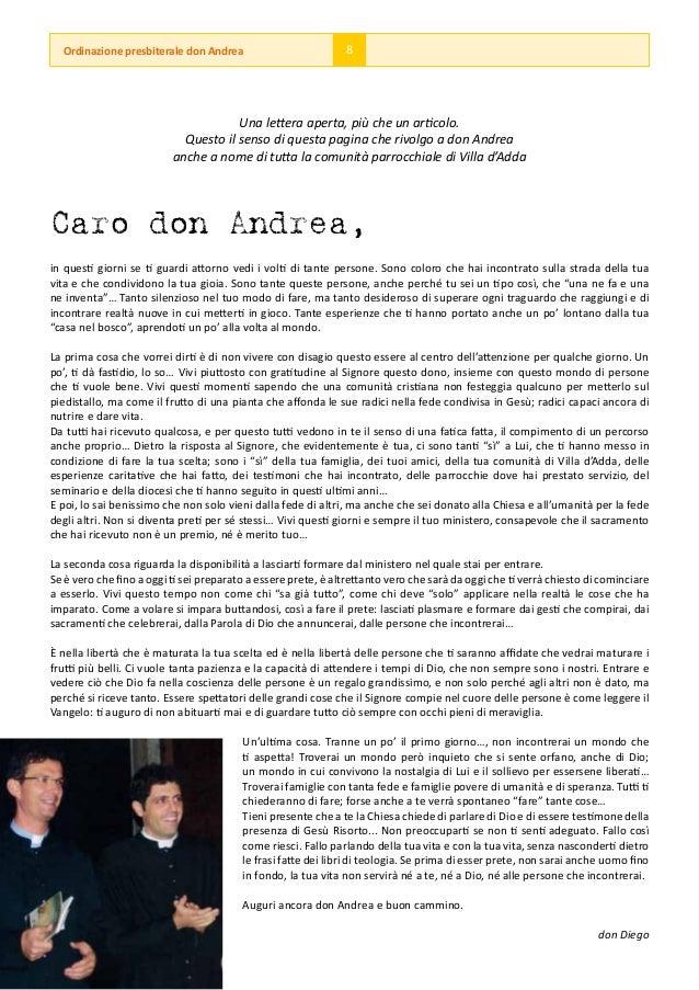 Ordinazione presbiterale don Andrea                          8                                      Una lettera aperta, pi...