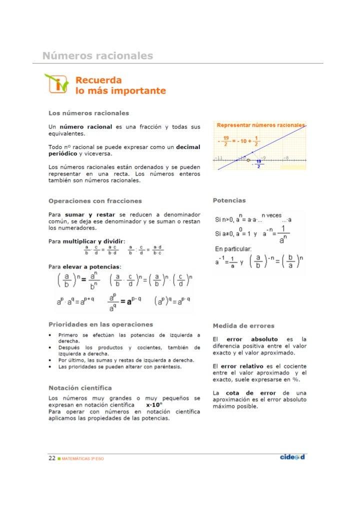 Numeros racionales teoría y ejercicios con soluciones