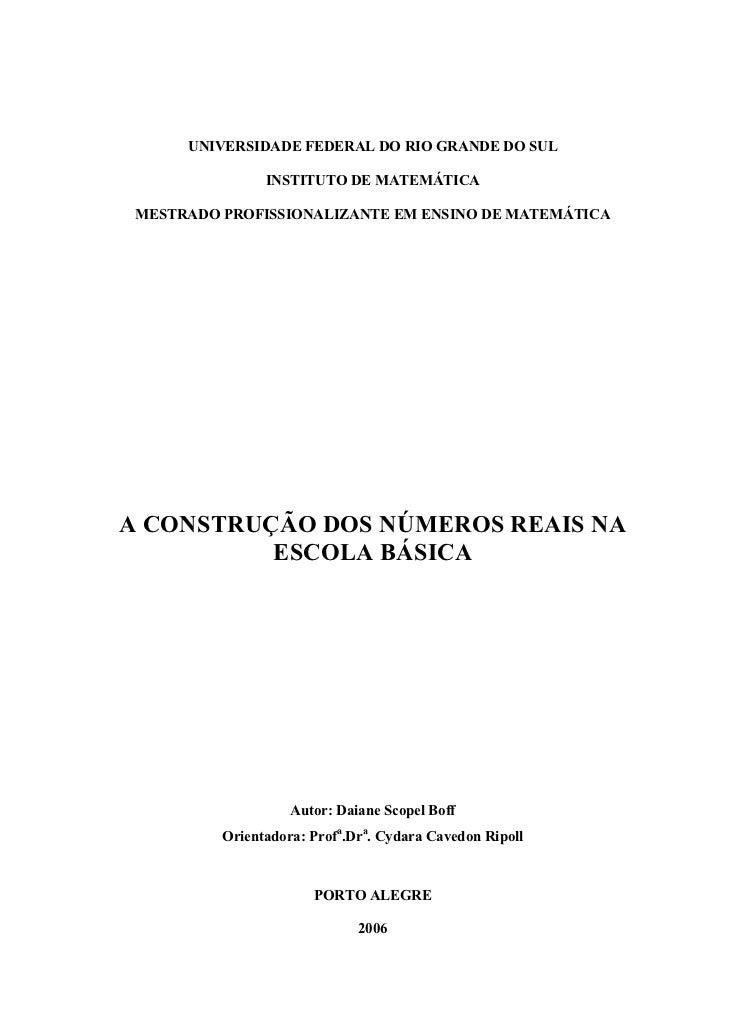 UNIVERSIDADE FEDERAL DO RIO GRANDE DO SUL                INSTITUTO DE MATEMÁTICA MESTRADO PROFISSIONALIZANTE EM ENSINO DE ...