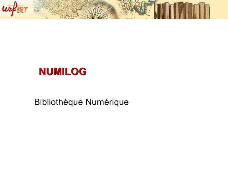 NUMILOG Bibliothèque Numérique