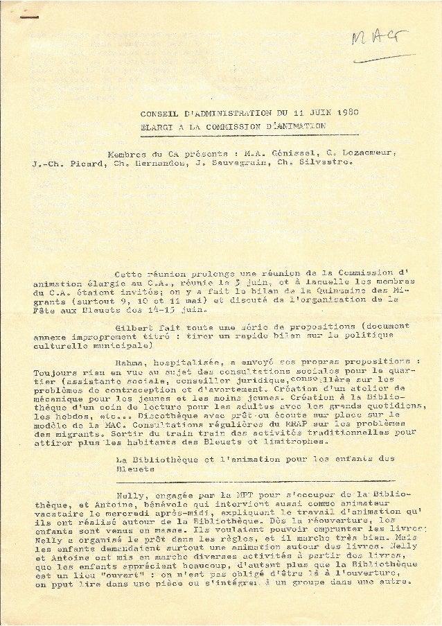 CA du 11 juin 1980 élargi à la commission d'animation - MPT Bleuets