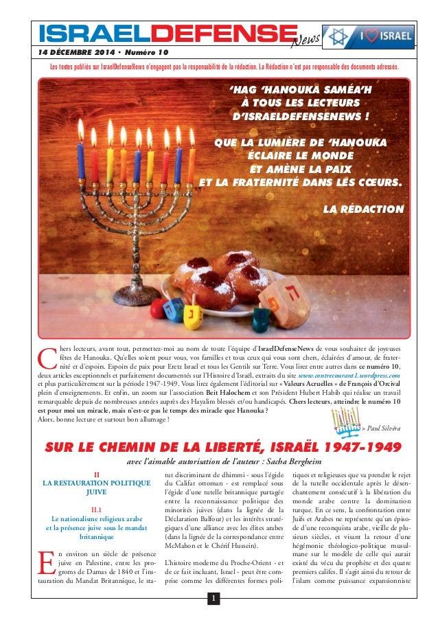 14 DÉCEMBRE 2014 • Numéro 10 II LA RESTAURATION POLITIQUE JUIVE II.1 Le nationalisme religieux arabe et la présence juive ...