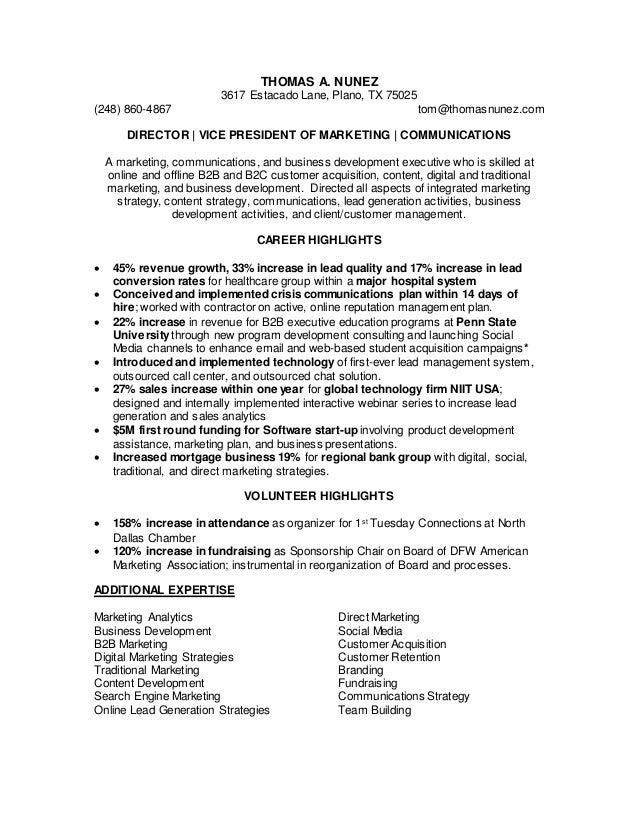 Nunez Marketing Communications Leadership Resume