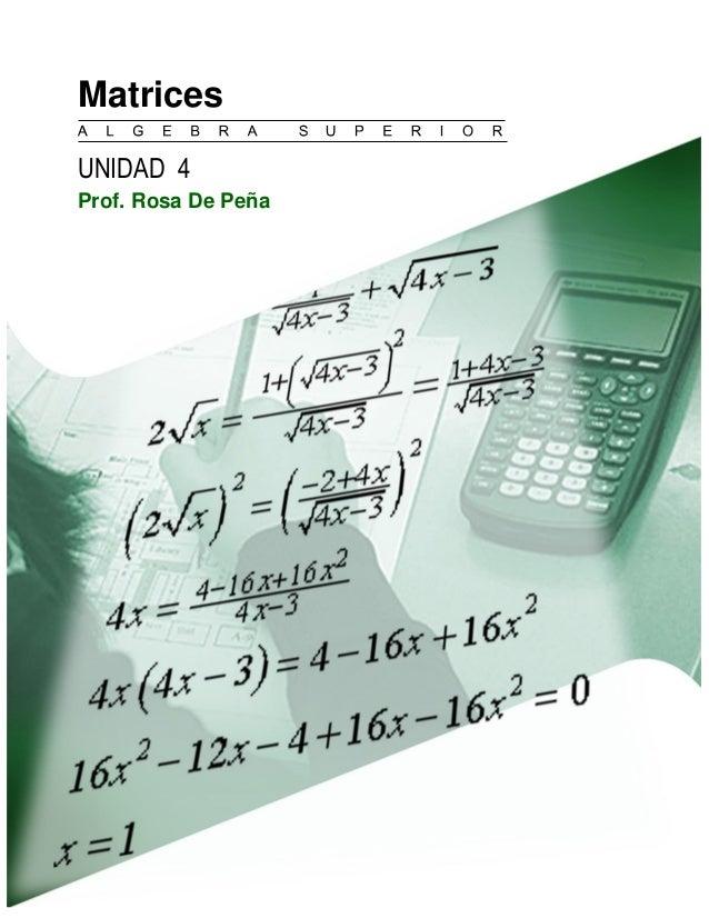 Matrices  UNIDAD 4  Prof. Rosa De Peña