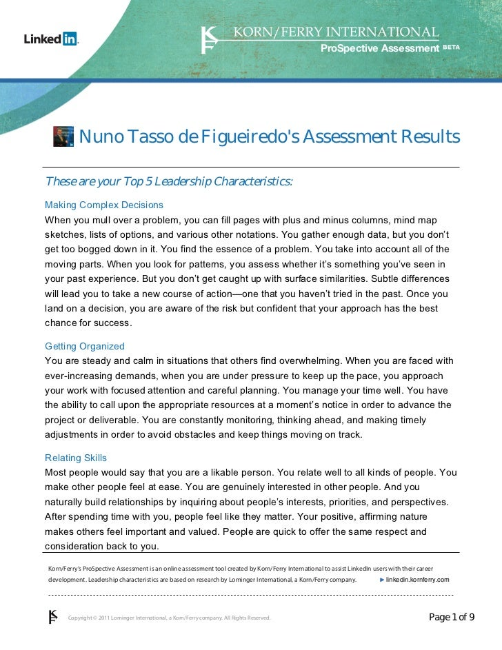 ProSpective Assessment           Nuno Tasso de Figueiredos Assessment ResultsThese are your Top 5 Leadership Characteristi...