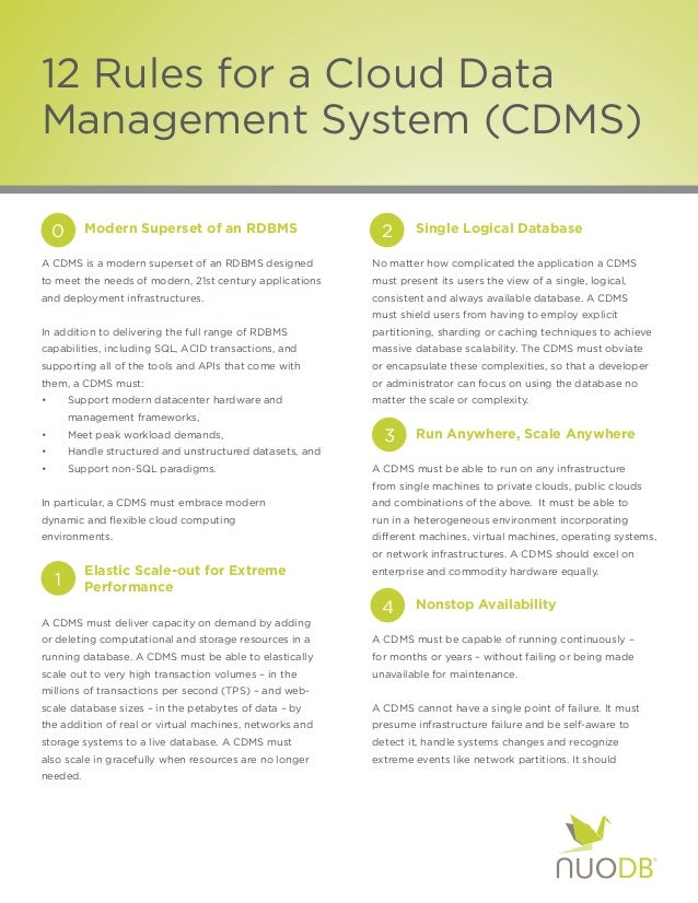 12 Rules for a Cloud DataManagement System (CDMS)    0     Modern Superset of an RDBMS                      2    Sing...