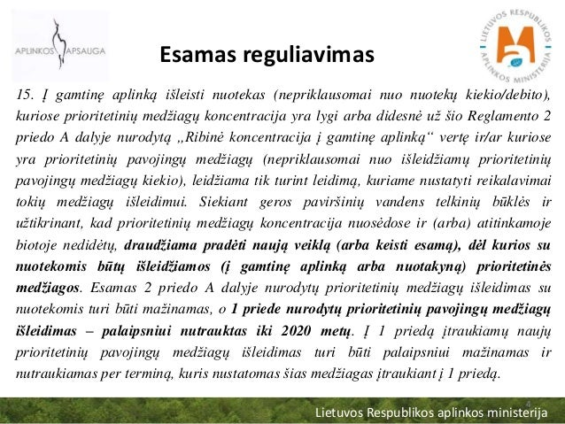 Lietuvos Respublikos aplinkos ministerija 4 Esamas reguliavimas 15. Į gamtinę aplinką išleisti nuotekas (nepriklausomai nu...