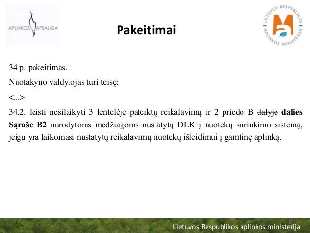 Lietuvos Respublikos aplinkos ministerija 6 Pakeitimai 34 p. pakeitimas. Nuotakyno valdytojas turi teisę: <...> 34.2. leis...