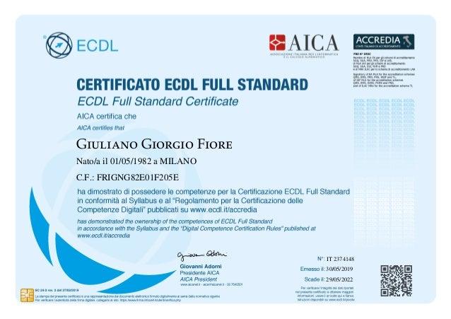 Giuliano Giorgio Fiore Nato/a il 01/05/1982 a MILANO C.F.: FRIGNG82E01F205E 30/05/2019 29/05/2022 IT 2374148
