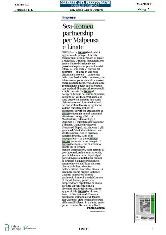 da pag. 725-APR-2013Diffusione: n.d.Lettori: n.d.Dir. Resp.: Marco DemarcoROMEO 1