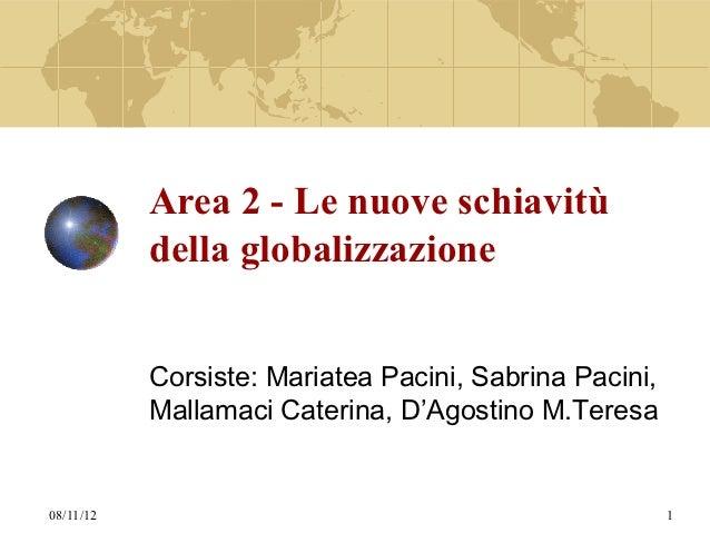 Area 2 - Le nuove schiavitù           della globalizzazione           Corsiste: Mariatea Pacini, Sabrina Pacini,          ...