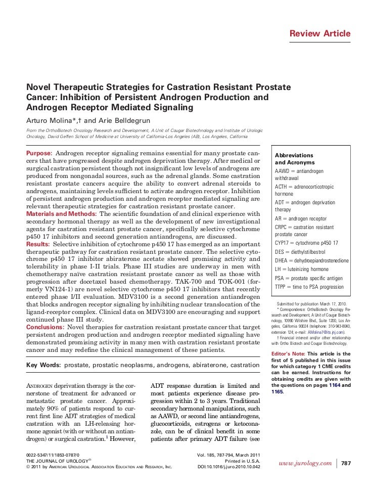 Review ArticleNovel Therapeutic Strategies for Castration Resistant ProstateCancer: Inhibition of Persistent Androgen Prod...