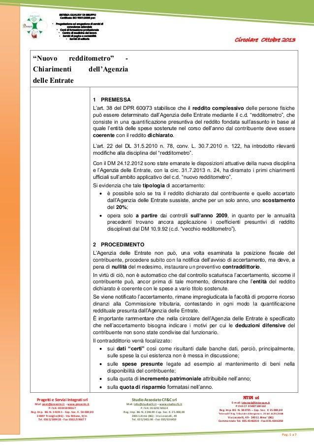 Circolare Ottobre 2013 Progetti e Servizi Integrati srl Mail post@proserin.it - www.proserin.it P. IVA: 03015890167 Reg. I...
