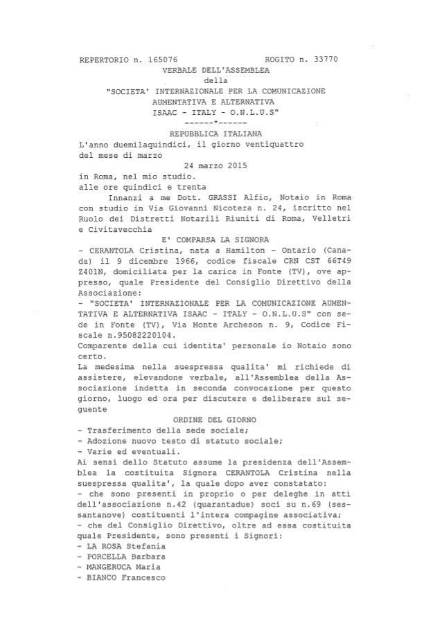 Nuovo statuto isaac italy 2015