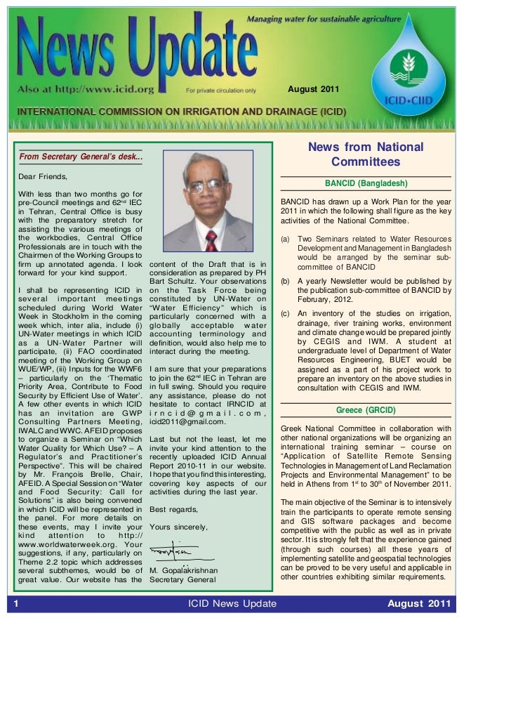 August 2011                                                                                News from National    From Secr...