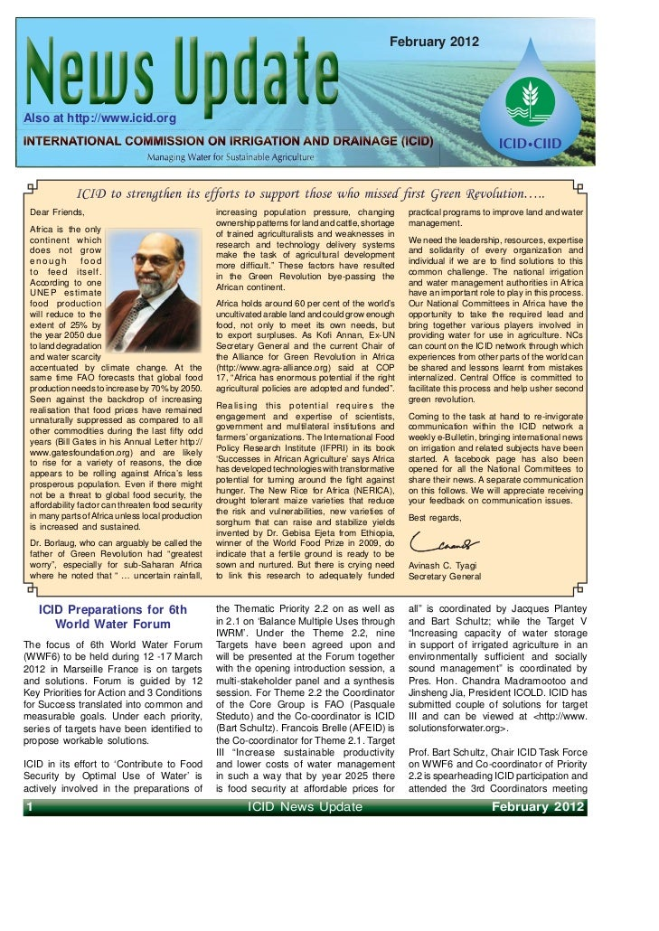 February 2012Also at http://www.icid.org Dear Friends,                                     increasing population pressure,...