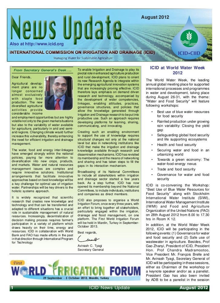 August 2012Also at http://www.icid.org    From Secretary General's Desk…..                To enable Irrigation and Drainag...