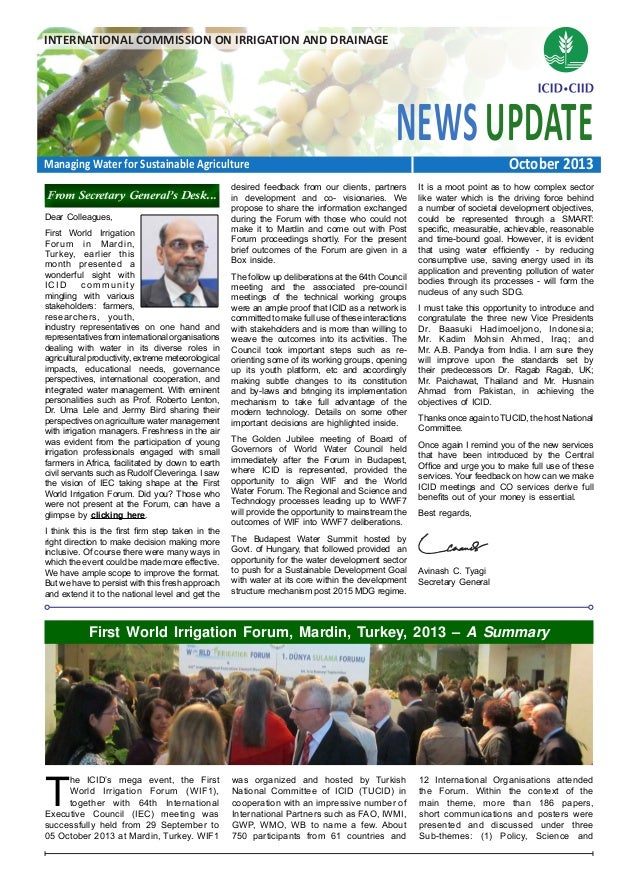 INTERNATIONAL COMMISSION ON IRRIGATION AND DRAINAGE  NEWS UPDATE October 2013  Managing Water for Sustainable Agriculture ...